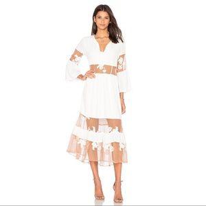 For Love & Lemons Eva Midi Dress White Size S NWT
